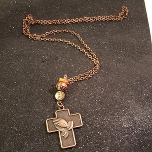 Other - Antique Copper Christian cross charm necklace
